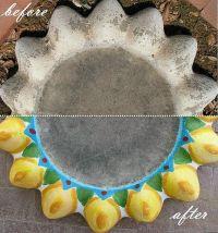 Concrete Bird bath top/bowl painted a yellow, green, blue ...