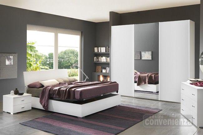 CITY  Camera da letto matrimoniale completa con letto contenitore colore bianco frassino