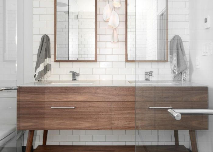 Beatty st loft cube tile floor charcoal mid century vanity also best images about bathroom on pinterest wood