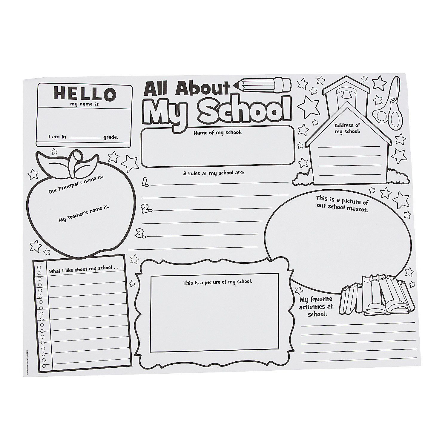 Color Your Own It S All About Me School Posters