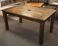 Solid wood farmhouse table with breadboards. Distressed