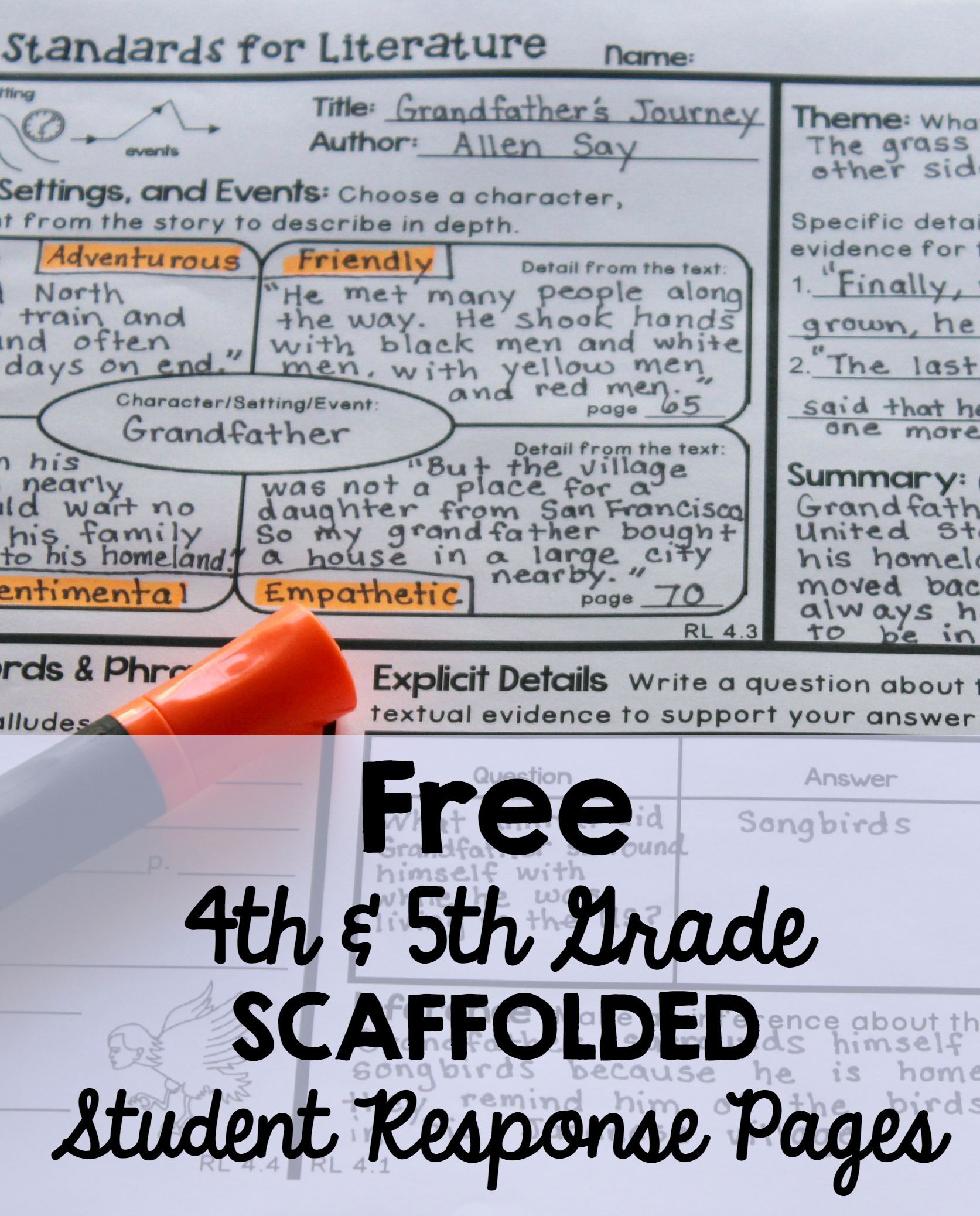 Free 4th And 5th Grade Scaffolded Student Response Pages