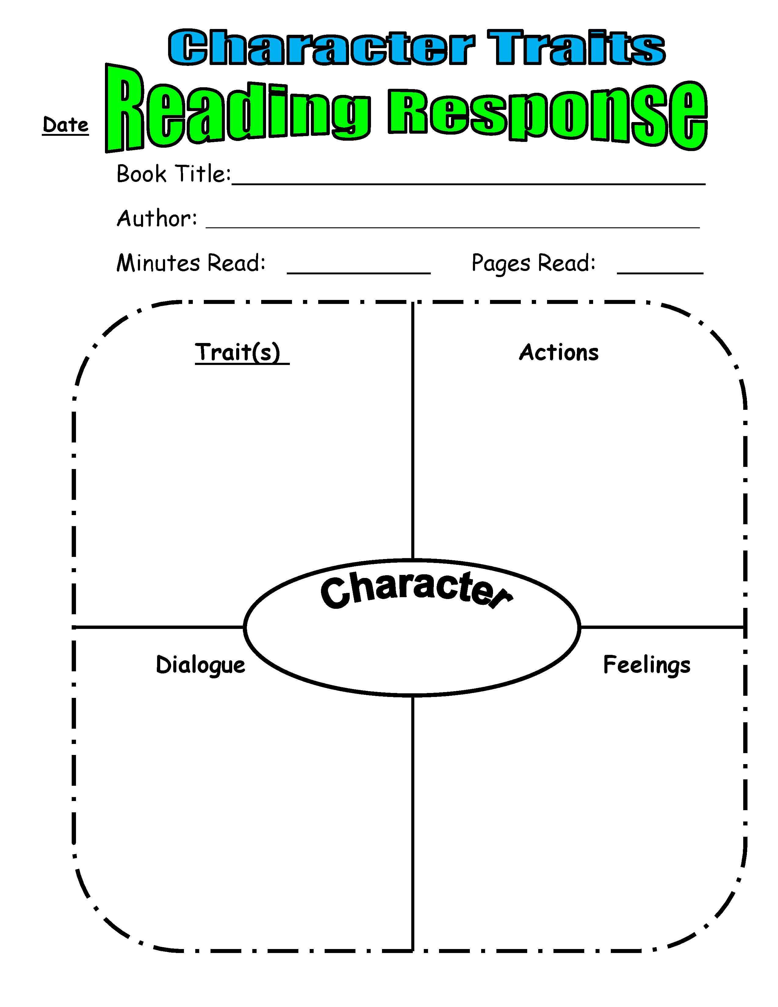 Character Trait Reading Response From Scholastic Top