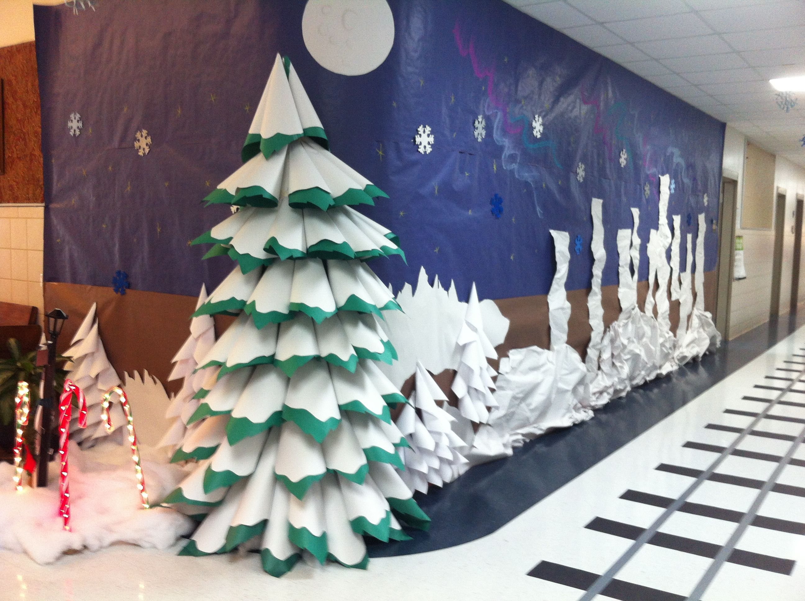 Paper 3d Christmas tree. Polar Express hallway decorations
