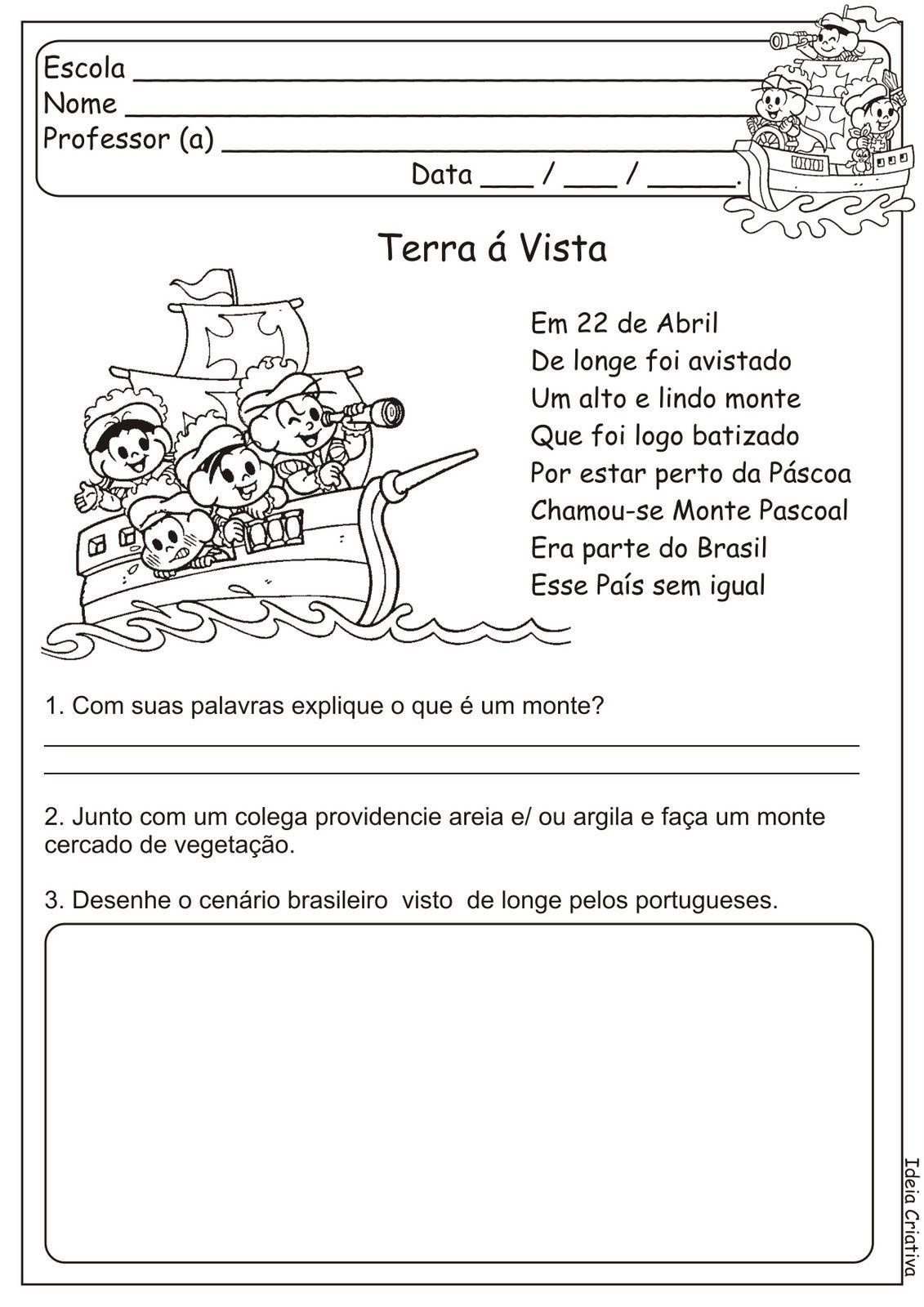 Descobrimento Brasil Atividades Exercicios Desenhos