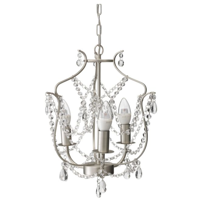 Kristaller Chandelier 3 Armed Silver Color Glass