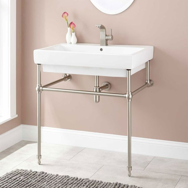 Abril Console Sink with Brass Stand Bathroom