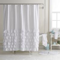 LC Lauren Conrad Ella Ruffle Fabric Shower Curtain ...