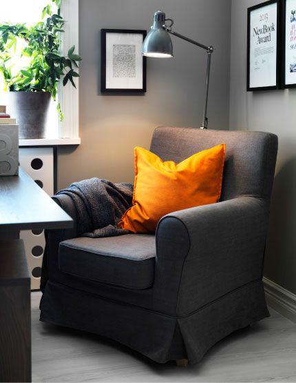 Reading corner with EKTORP/JENNYLUND armchair and ARD