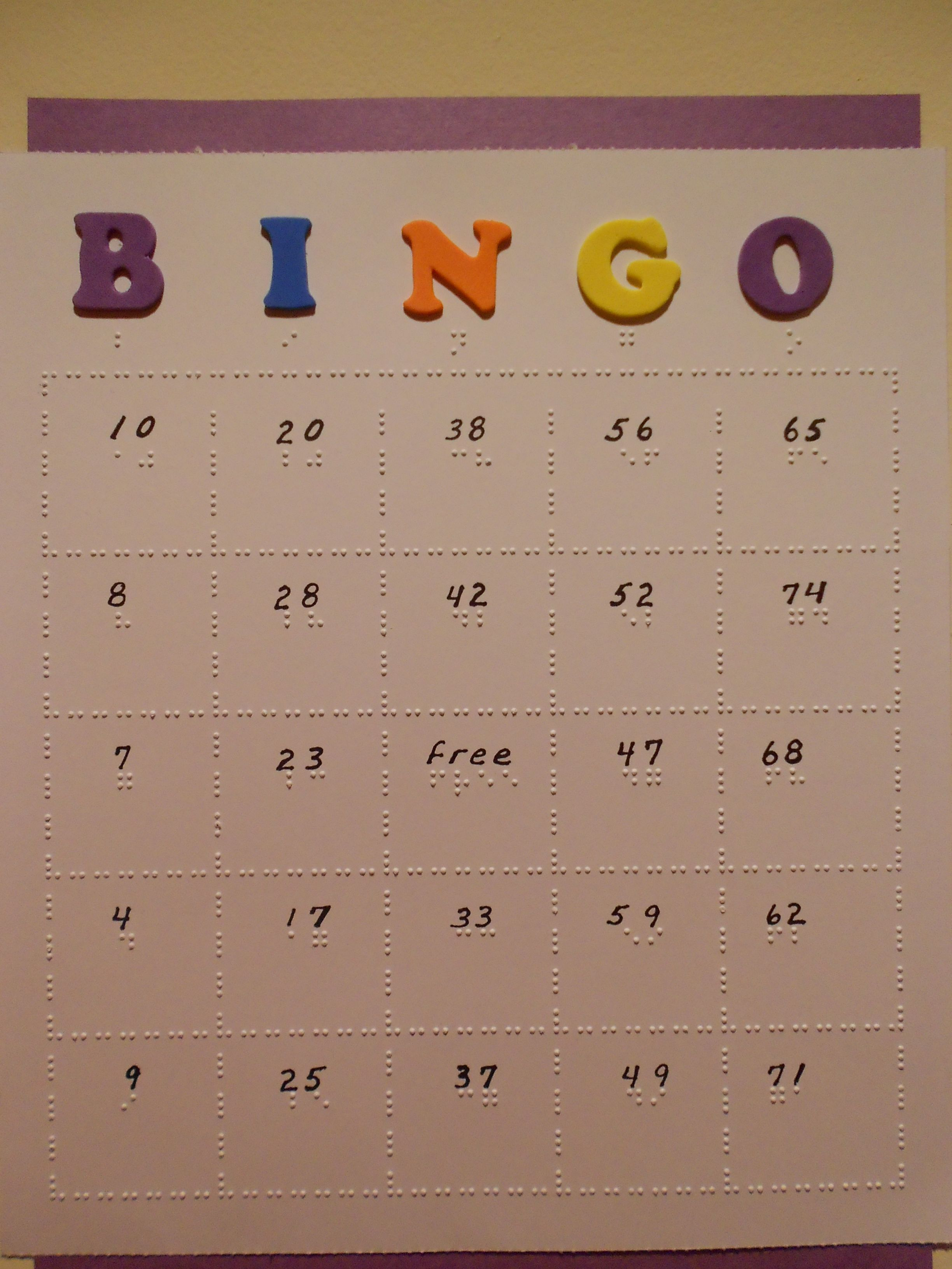 Braille Bingo Cards Can Be Individually Adapted For The