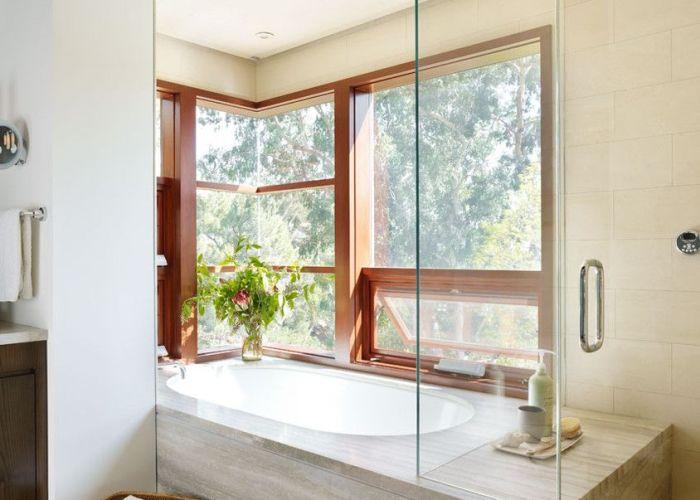 Corner tub shower combo bathroom modern with basket bath bench glass also