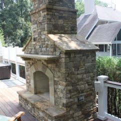 Stacked Stone Outdoor Kitchen Grow Lights Fireplace With Hearth Fireplaces
