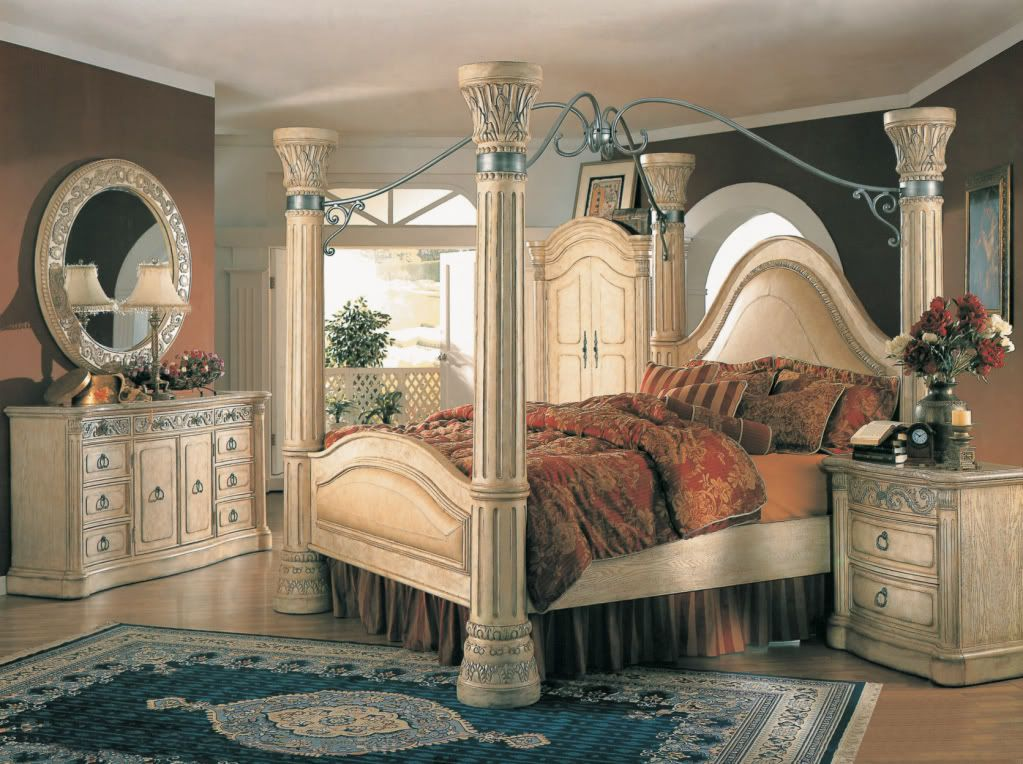 margaret king poster canopy bed 5 piece bedroom set antique white