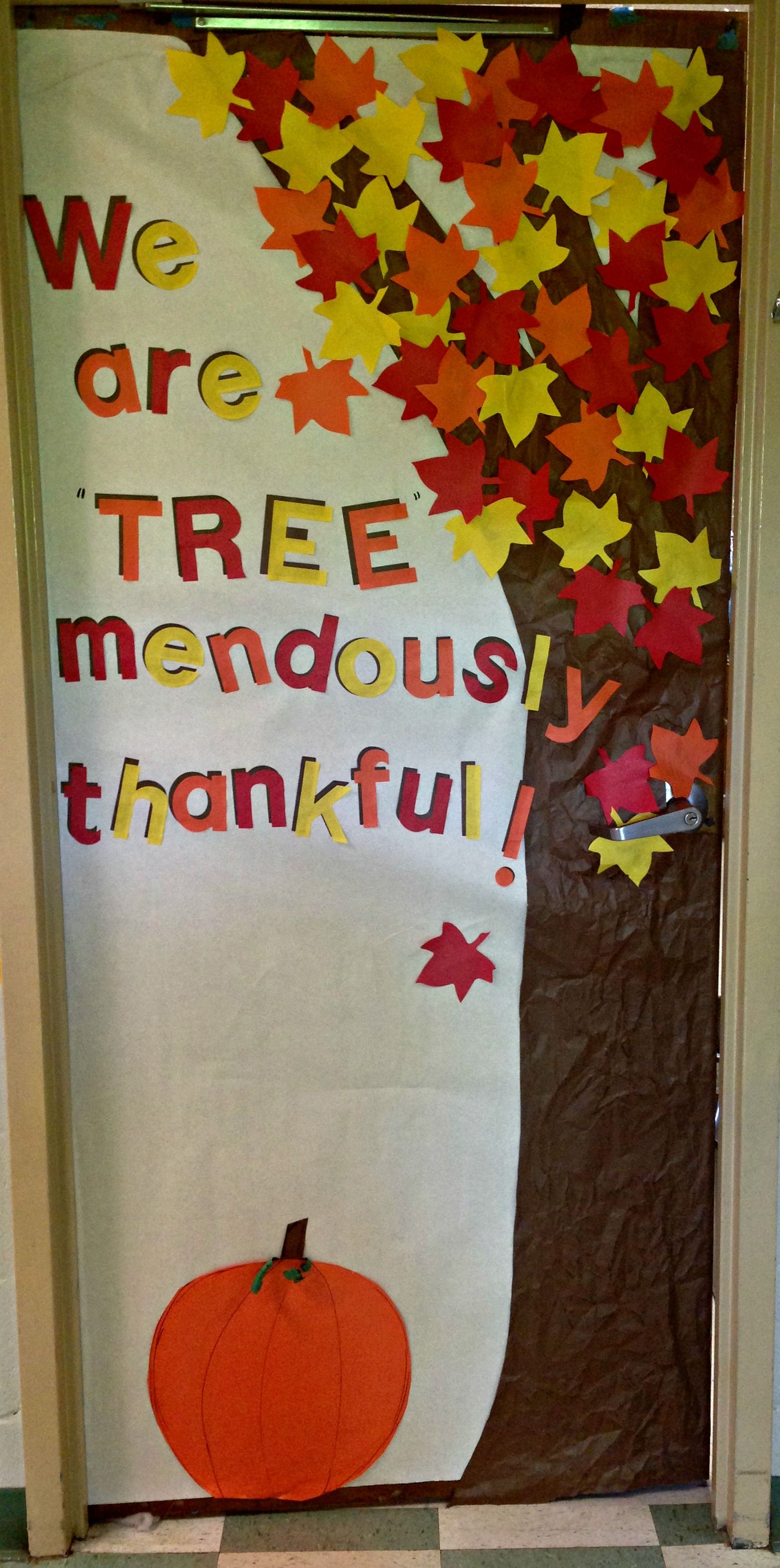 Thankfulness tree classroom door. I cut out extra leaves