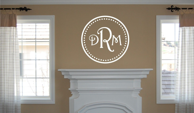 vinyl wall decal monogram initials within circle via etsy