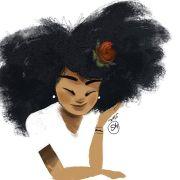 desenho de garota cacheada - pesquisa
