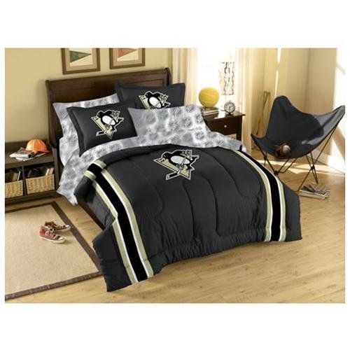Nhl Pittsburg Penguins Bedroom Pittsburgh Comforter Sheets Hockey Bed