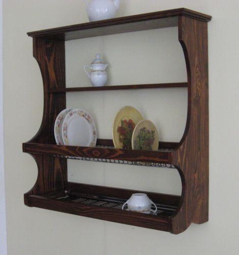 piattaia mensola rustica scolapiatti legno rustico cucina taverna giardino abete  eBay