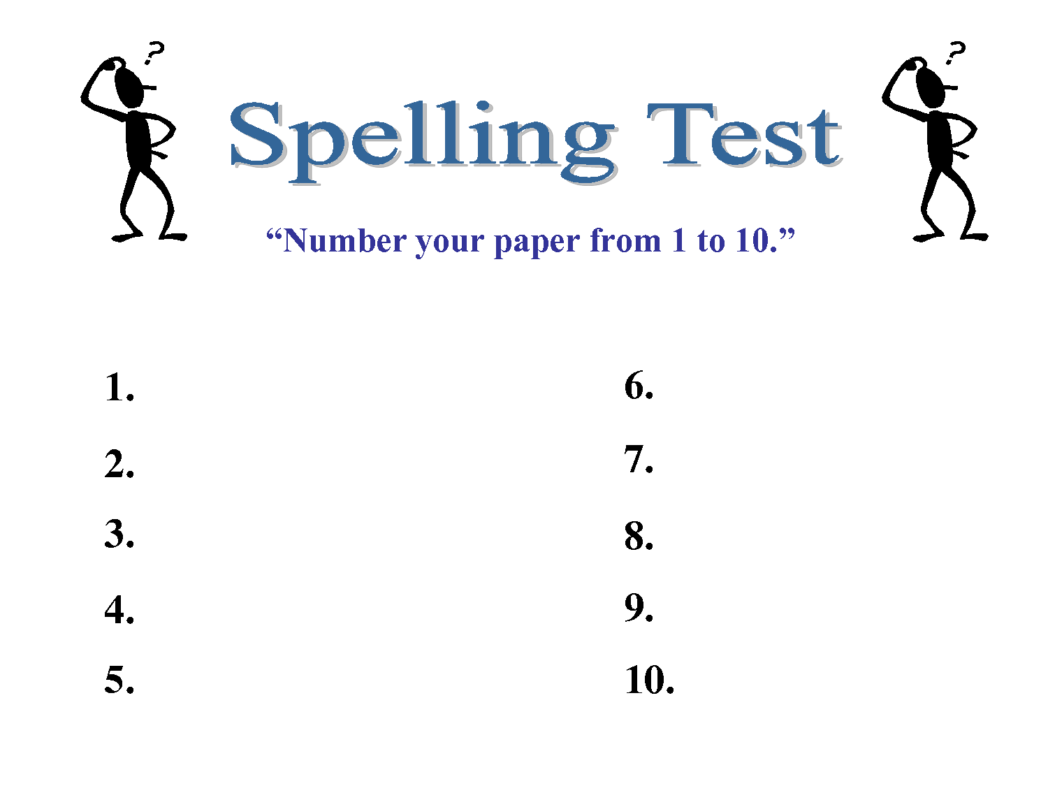 Spelling Test Template 10 Words