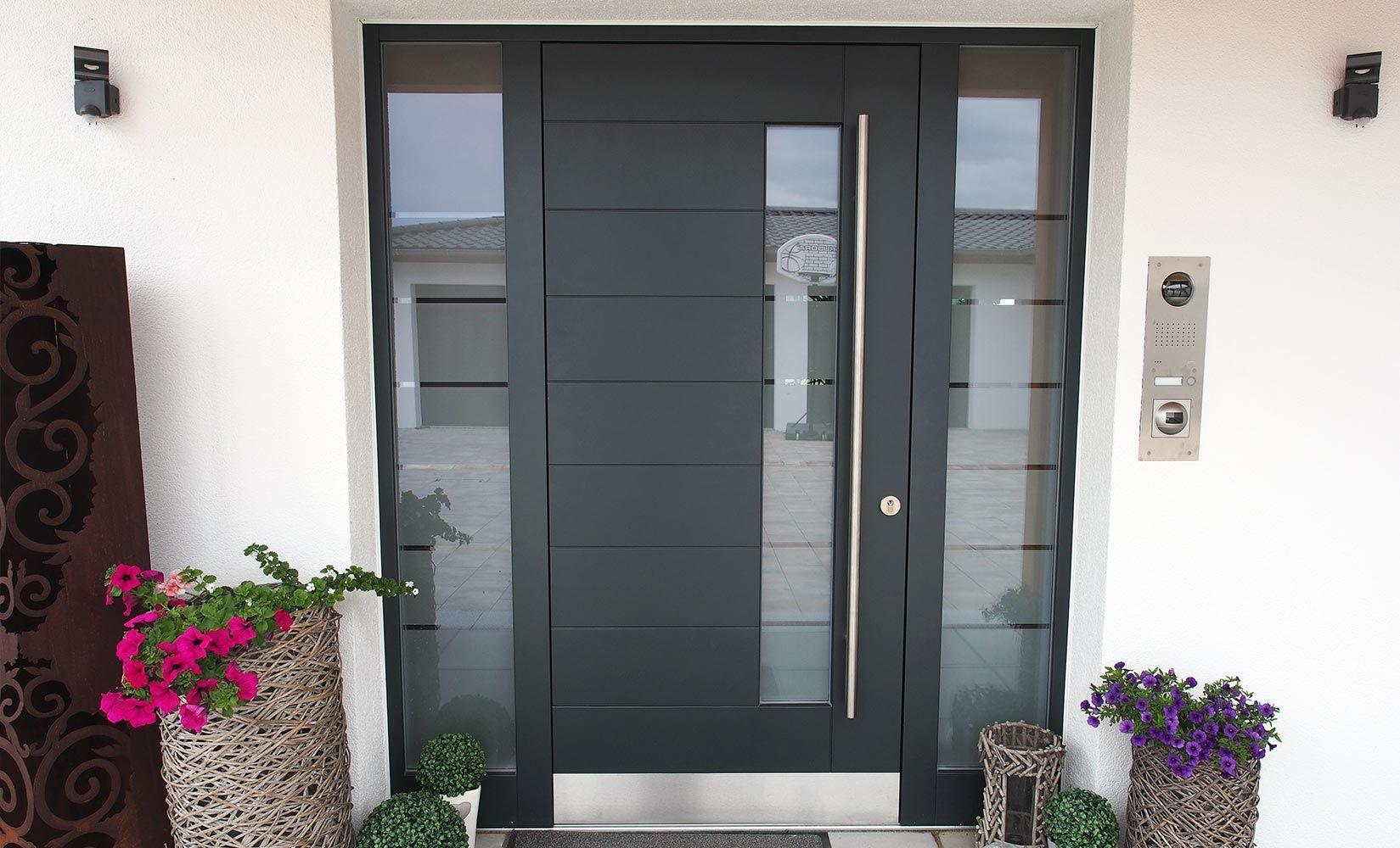 Eingangstur Modern Hausturen Modern Grau Mit Seitenteil