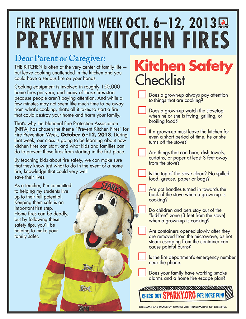 Kitchen Safety Checklist from NFPA Fire Prevention