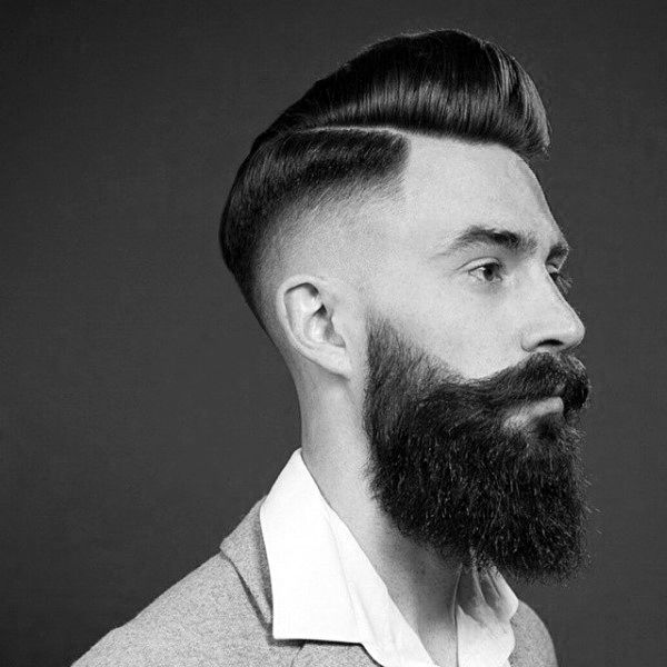 Classy Old School Mens Pompadour With High Skin Fade Hairstyle On