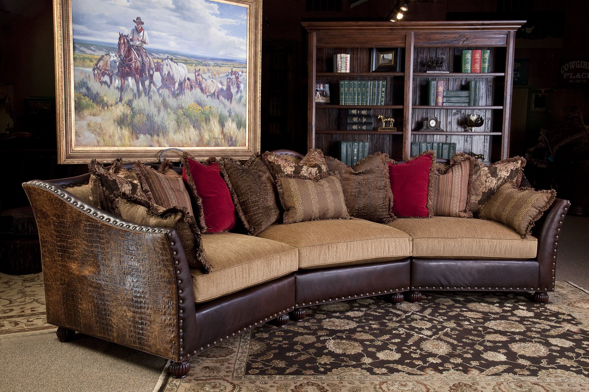 mixing leather sofa fabric chairs cama carrefour 89 euros jlb design sectional western art emboss and westerns