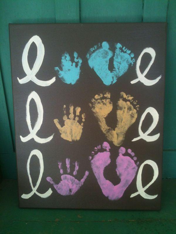 Handprint Footprint Artwork- Of Babies. Baby