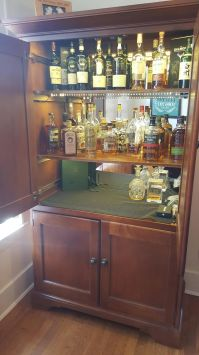 DIY converted a TV hutch into a lit up liquor cabinet (#