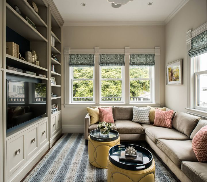 Cozy Family Room With Built In Shelves Tv Rooms