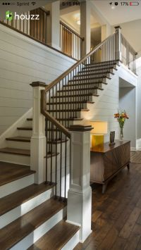 Wooden railing and metal spindle, very clean look