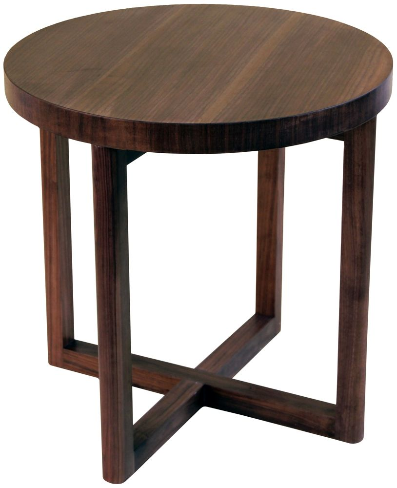 Round Cross Leg Side Table Walnut  Interiors Online