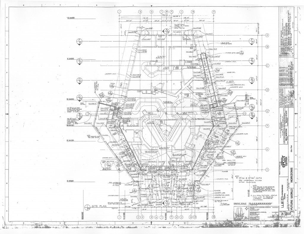 Overhead Blueprint Of Horizons Epcot Center