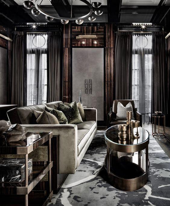 elegant modern living room with rich wood decor