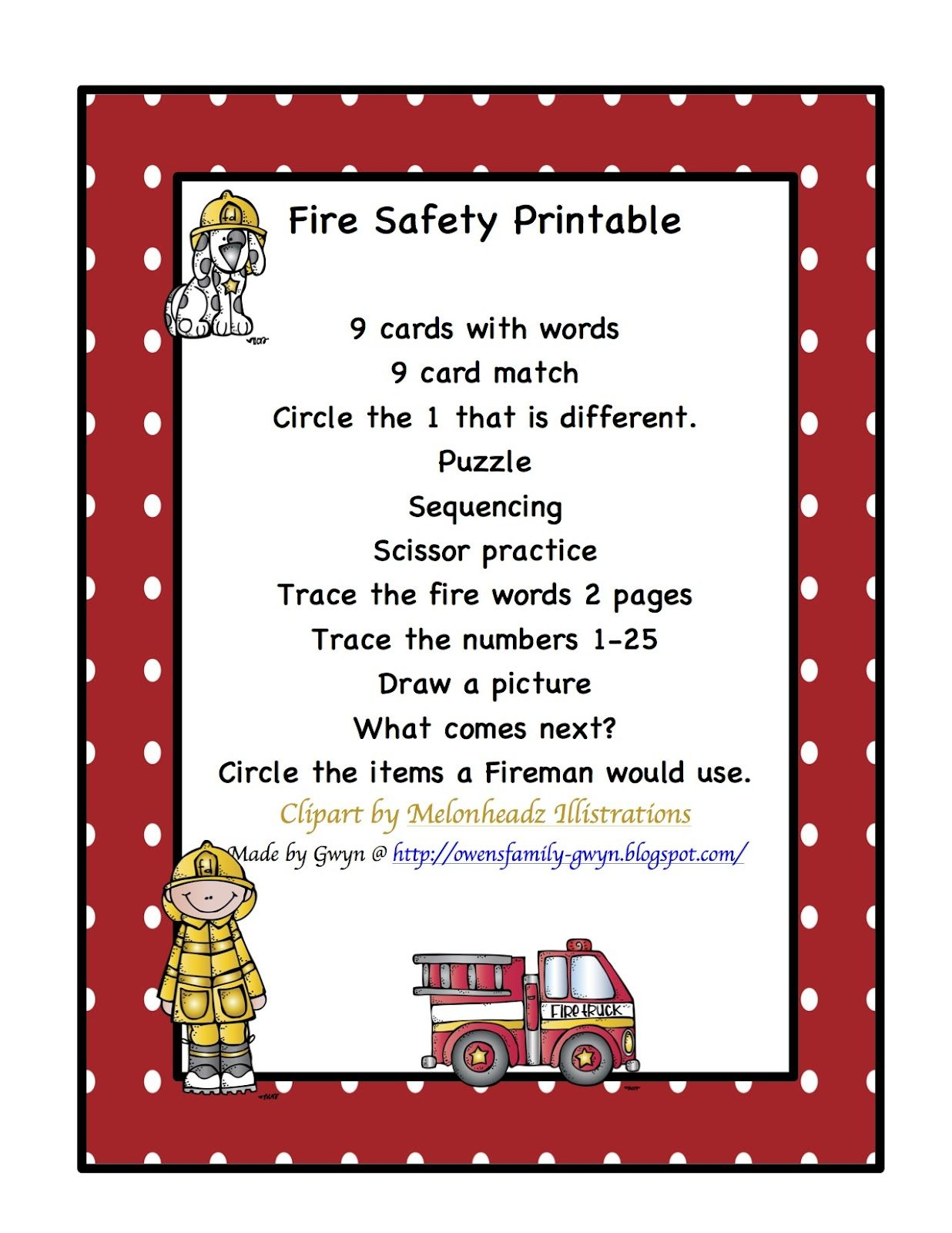 Preschool Printables Fire Safety Printable