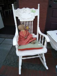 Shabby Chic rocking chair painted in old white Annie Sloan ...