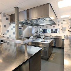 Restaurant Kitchen Design Island Installation Tile Walls Floor Drain