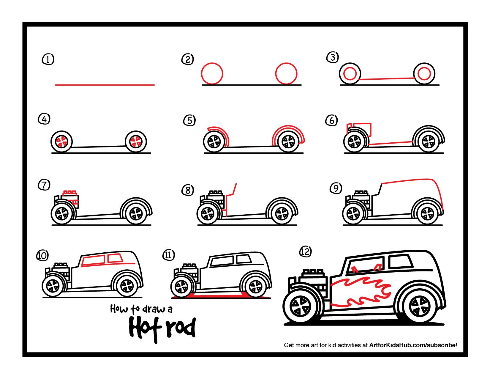 How To Draw A Hot Rod 1 650 1 275 Pixels