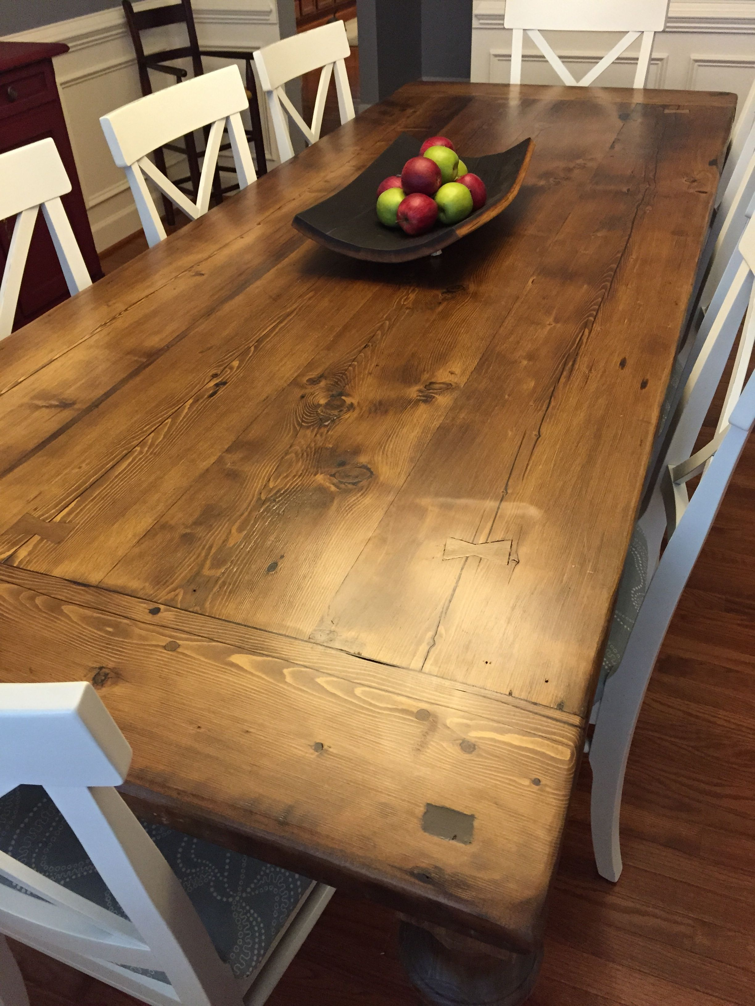Reclaimed Wood Dining Table With A 2 Thick Plank Top Breadboards And Custom Turned Legs