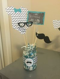 Little man themed baby shower centerpieces