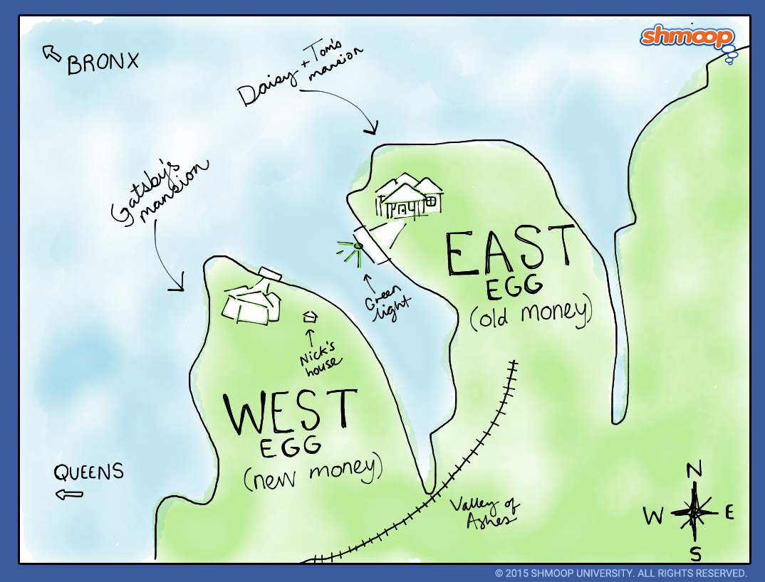 Map East West Egg Great And Gatsby Egg
