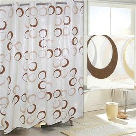 Brown Circles EZ ON HOOKLESS® Fabric Shower Curtain Hookless