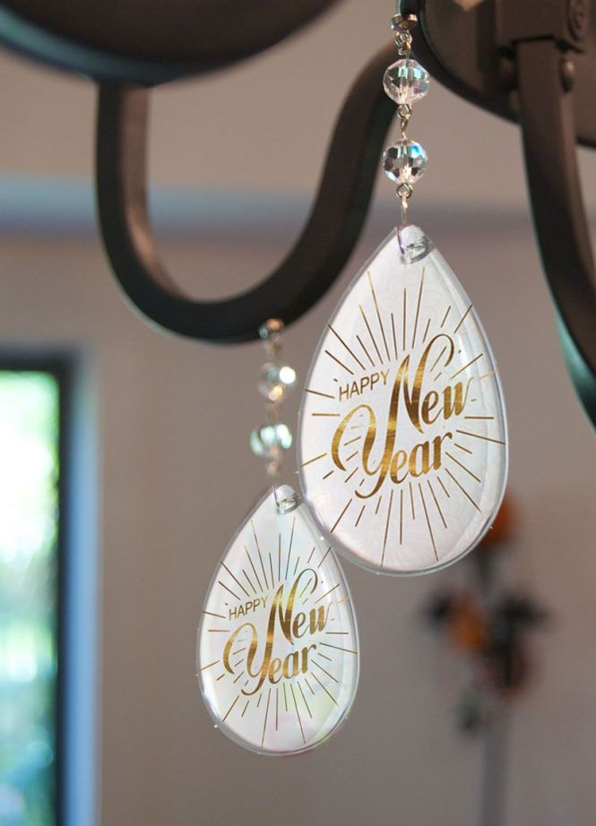 Hy New Year Magnetic Chandelier Charms