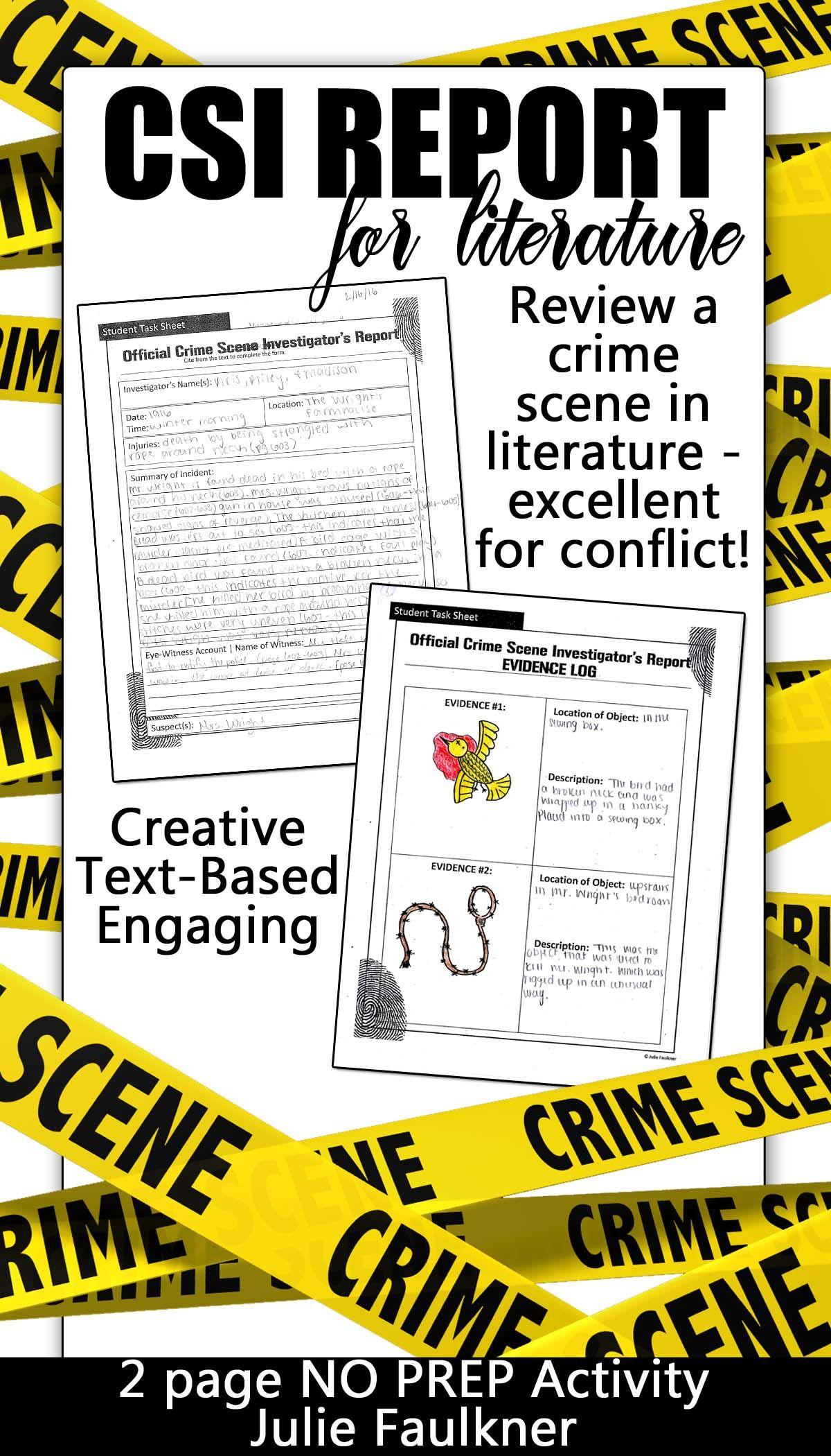 Crime Scene Investigator Police Report Creative Text