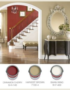 Warm traditional interior paint color palette with cinnamon cherry red harvest brown also rh pinterest