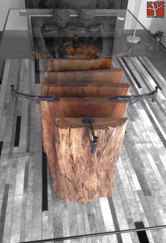Nativo Redwood Mesa Comedor Con Base De Tronco De Madera Nativa De Laurel Seccionada Con