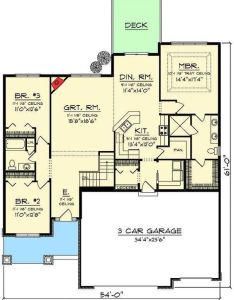 bed craftsman ranch with open concept floor plan ah st master suite also rh pinterest