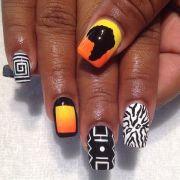 geometric and africa nail art