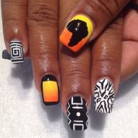 Geometric and Africa nail art