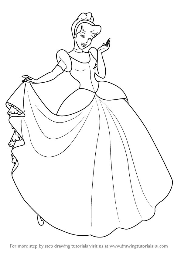 Learn How to Draw Princess Cinderella (Cinderella) Step by